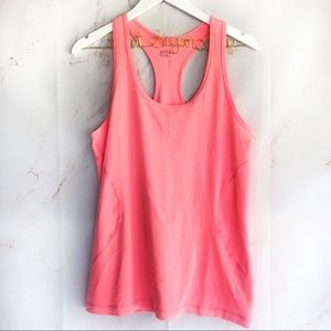 Zella workout racer back tank bright neon coral XL